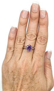 Amethyst Solitaire Ring, Sterling Silver, Size 7.75, prong set, NEW - GemzAustralia