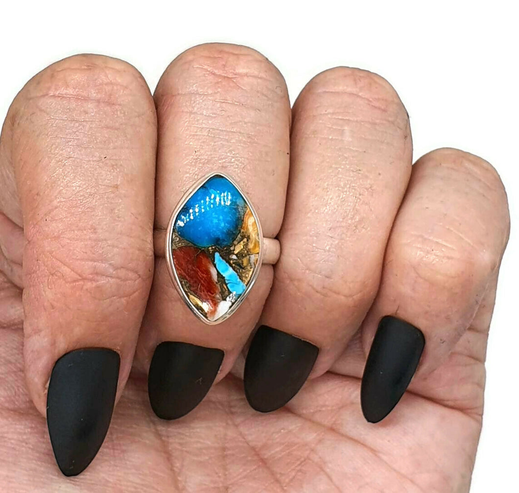 Spiny Oyster & Arizona Turquoise Ring, Size 6.75, Sterling Silver - GemzAustralia