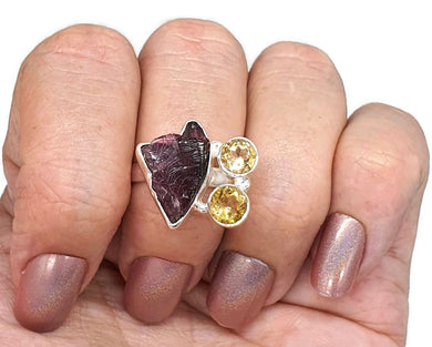 Raw Garnet & Citrine Ring, Size 7, Sterling Silver, Jan & Nov gems - GemzAustralia