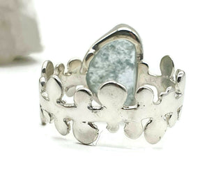 Raw Aquamarine Ring, size 7.75, sterling silver, rough gemstone, NEW - GemzAustralia
