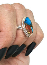 Load image into Gallery viewer, Spiny Oyster & Arizona Turquoise Ring, Size 6.75, Sterling Silver - GemzAustralia
