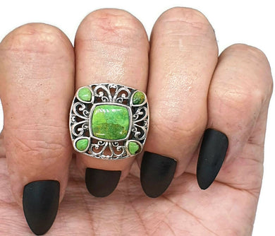 Green Mojave Turquoise Ring, Size 6.75, Sterling Silver, Square shape - GemzAustralia