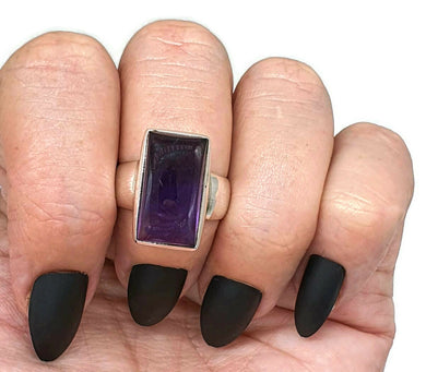 Amethyst Cabochon Ring, Size 8, Sterling Silver, Rectangle Shaped, February Birthstone, 6th year Anniversary Gem - GemzAustralia
