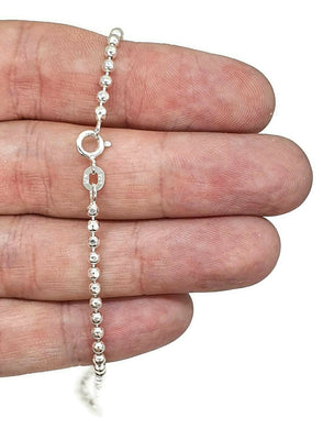 Sterling Silver Chain, 46 cm, 18 inches, Beaded Chain, Ball Chain - GemzAustralia