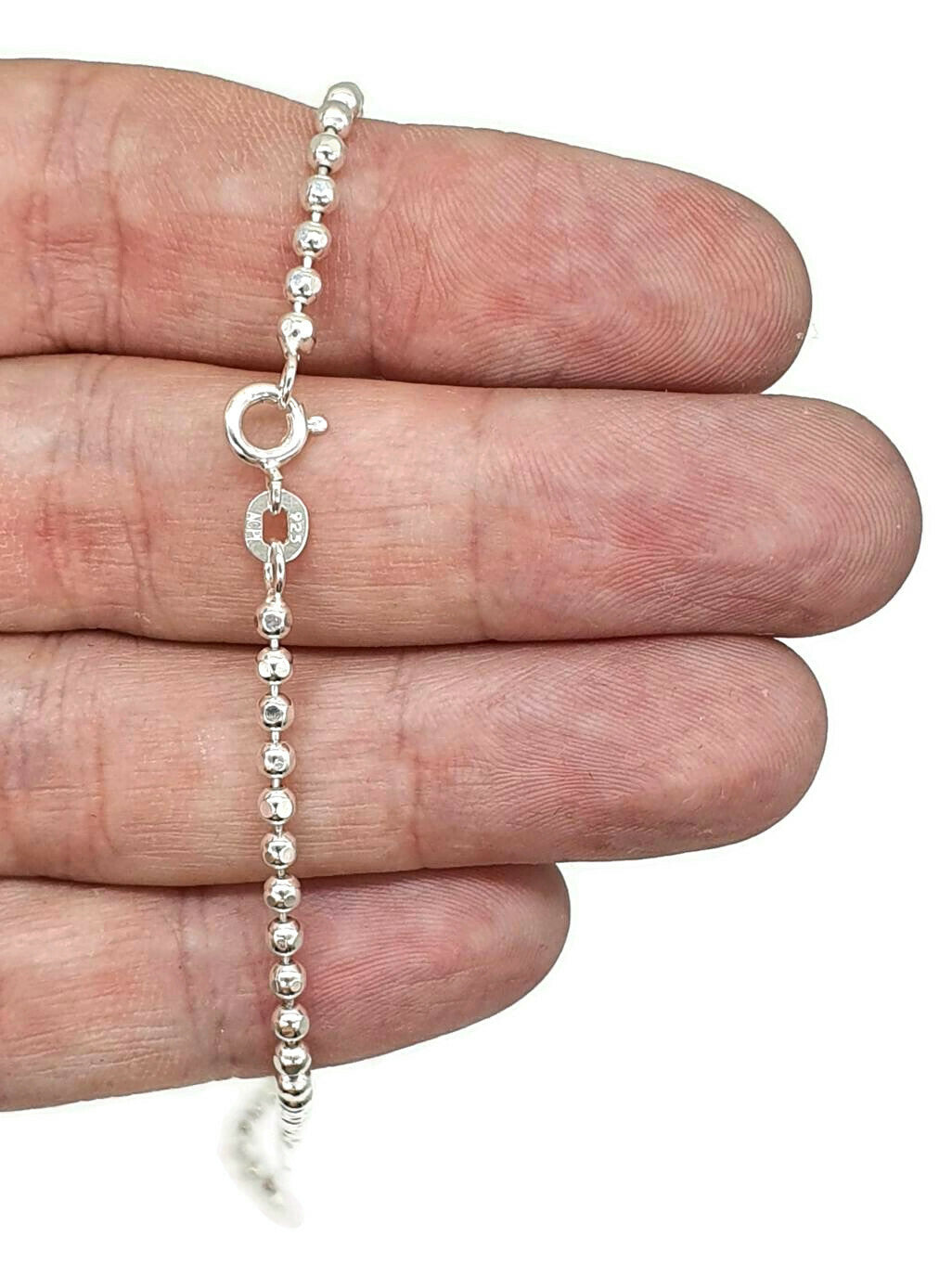 Sterling Silver Chain, 46 cm, 18 inches, Beaded Chain, Ball Chain