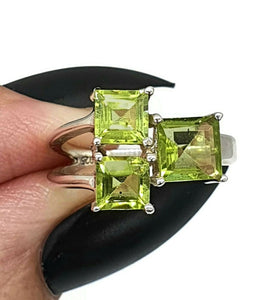 Peridot Ring, Size 5.5, sterling silver, Square shape, Geometric ring - GemzAustralia