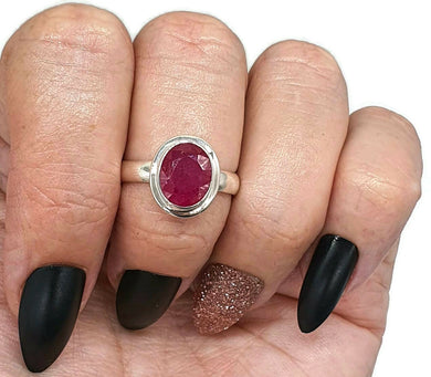 Ruby Ring, Size 8.5, Sterling Silver, Oval Shaped, July Birthstone, Stacker Ring - GemzAustralia