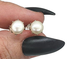 Load image into Gallery viewer, Pearl Studs, Freshwater Pearl Earrings, Sterling Silver, White Pearl Studs, Bridal Jewelry, Rose Buds, June Birthstone - GemzAustralia