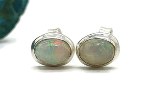 Ethiopian Opal Studs, Sterling Silver, Oval Shaped, October Stone - GemzAustralia