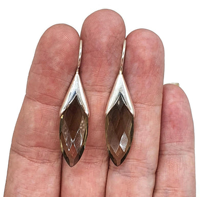 Smoky Quartz Earrings, Sterling Silver, Leaf Shape, Caramel Brown - GemzAustralia