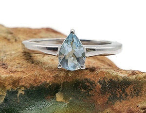 Aquamarine Ring, Sterling Silver, Size 6, Solitaire Ring, March Gem - GemzAustralia