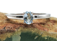Load image into Gallery viewer, Aquamarine Ring, Size 8, Sterling Silver, Engagement Ring, March Gem - GemzAustralia