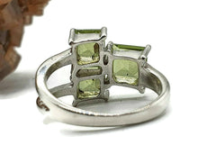 Load image into Gallery viewer, Peridot Ring, Size 5.5, sterling silver, Square shape, Geometric ring - GemzAustralia