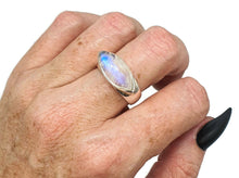 Load image into Gallery viewer, Rainbow Moonstone Ring, size 9.5, sterling silver, Marquise Shaped - GemzAustralia