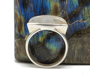 Rainbow Moonstone Ring, size 9.5, sterling silver, Marquise Shaped - GemzAustralia