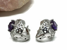 Load image into Gallery viewer, Amethyst Huggie Earrings, Oval Shaped, Sterling Silver, Filigree Heart Design - GemzAustralia
