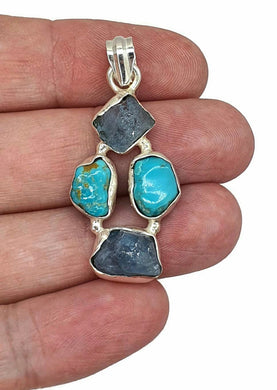 Blue Turquoise & Raw Aquamarine Pendant, Sterling Silver, Protection Stone, December and March Birthstones - GemzAustralia