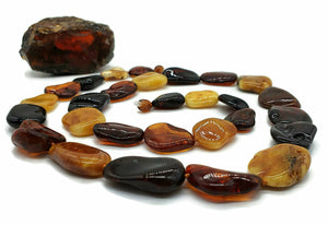 Baltic Amber Necklace, Massive Amber Necklace, 78cm, Fossilized Tree Resin - GemzAustralia