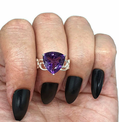 Amethyst Ring, Size 6.75, Sterling Silver, Trillion Ring, Prong Set, February Birthstone, Triangle Shaped - GemzAustralia