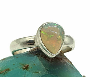 Ethiopian Opal Ring, Size 8.5, Sterling Silver, Pear Shaped - GemzAustralia