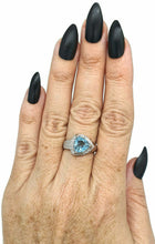 Load image into Gallery viewer, Blue Topaz & Diamond halo Ring, Size 8, Sterling Silver, Trillion faceted - GemzAustralia