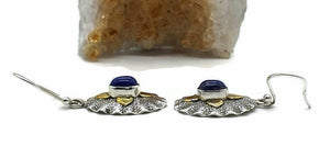 Lapis Lazuli Earrings, Sterling Silver, Two tone, Oval Shaped - GemzAustralia