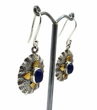 Load image into Gallery viewer, Lapis Lazuli Earrings, Sterling Silver, Two tone, Oval Shaped - GemzAustralia