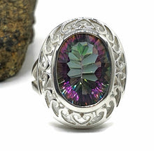 Load image into Gallery viewer, Mystic Topaz Ring, size 6.75, Sterling Silver, Oval Shaped, Purple / Green Gem - GemzAustralia
