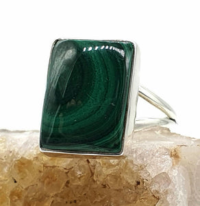 Malachite Ring, Size 9, Sterling Silver, Rectangle Shape, Rich Green Gemstone - GemzAustralia