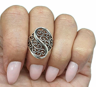 Filigree Ring, Size 5.75, Sterling Silver, Swirl Ring, Oxidized Ring - GemzAustralia