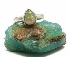 Load image into Gallery viewer, Ethiopian Opal Ring, Size 8.5, Sterling Silver, Pear Shaped - GemzAustralia