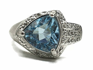 Blue Topaz & Diamond halo Ring, Size 8, Sterling Silver, Trillion faceted - GemzAustralia