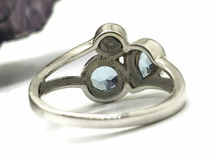 Blue Topaz & Freshwater Pearl Ring, Size 9, Sterling Silver, Three Stone Ring - GemzAustralia