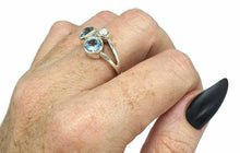 Load image into Gallery viewer, Blue Topaz & Freshwater Pearl Ring, Size 9, Sterling Silver, Three Stone Ring - GemzAustralia