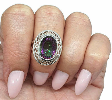 Mystic Topaz Ring, size 6.75, Sterling Silver, Oval Shaped, Purple / Green Gem - GemzAustralia