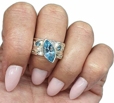 Blue Topaz Ring, Size 8.5, Wide band, Sterling Silver, Marquise Shape - GemzAustralia