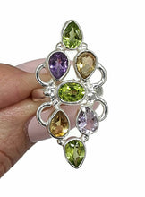 Load image into Gallery viewer, Peridot, Citrine & Amethyst ring, Size 7, Sterling Silver, Multi Gemstone Ring - GemzAustralia