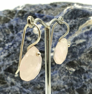 Rose Quartz Earrings, Sterling Silver, Pear Shaped, 15 Carats - GemzAustralia