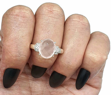 Rose Quartz Ring, Size 8.5, Sterling Silver, Oval Shape, 5 Carats - GemzAustralia