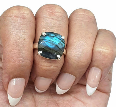 Labradorite Ring, Size 8.75, Sterling Silver, Checkerboard faceted
