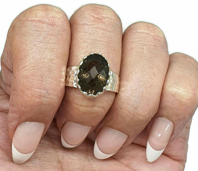 Smoky Quartz Ring, size 8.75, Sterling Silver, 4.5 carats, Oval Shape