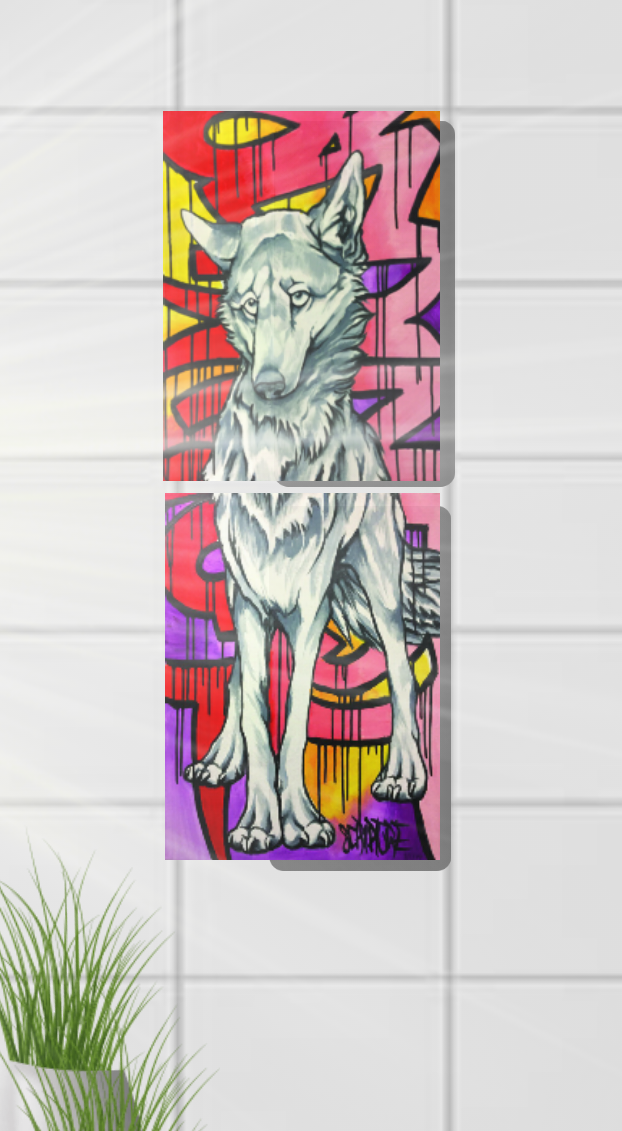 'Yote' Double Panel Canvas Print