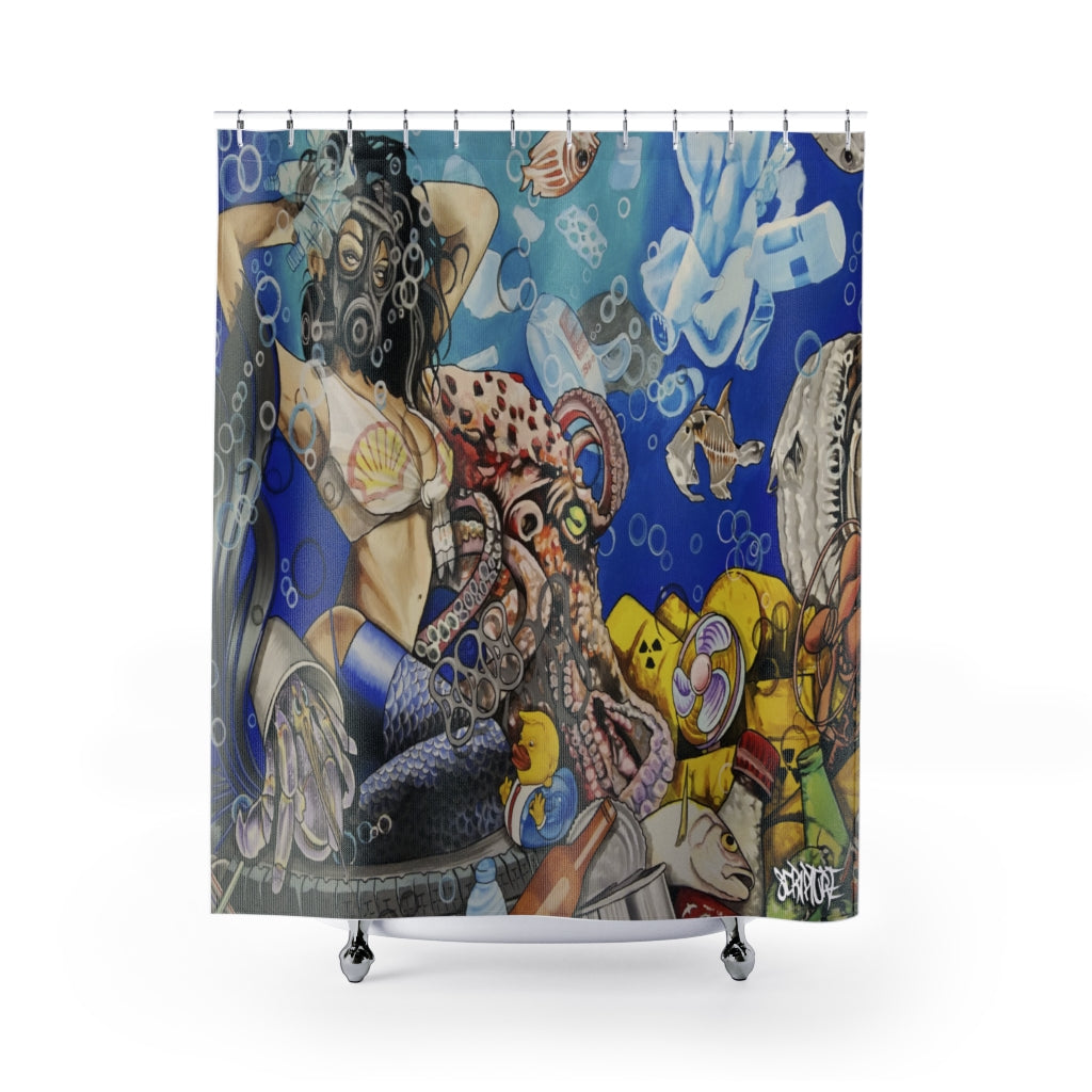 'Trashy' Under the Sea Shower Curtain