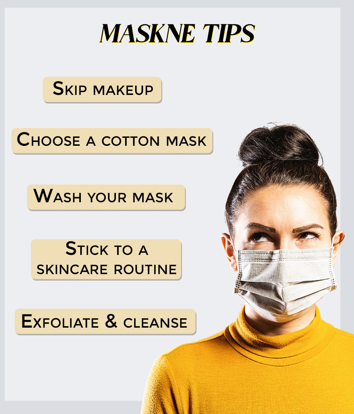 This is an image for tips for maskne