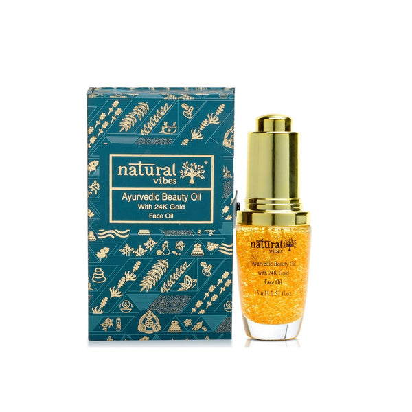 This is an image of Natural Vibes Ayurvedic Beauty Oil With 24k Gold Flakes on www.sublimelife.in