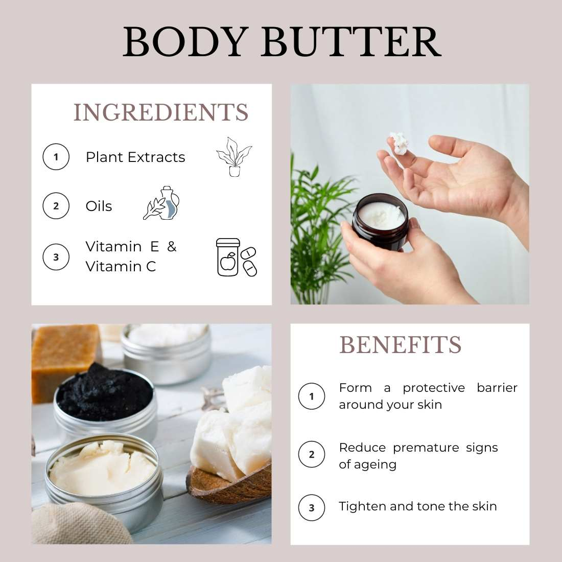 This image shows the ingredients and benefits of Body Butter.