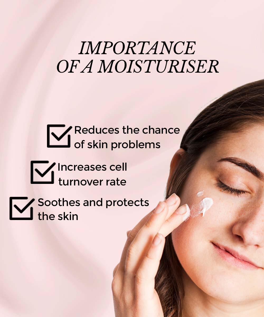 The image shows the importance of moisturiser for skin care