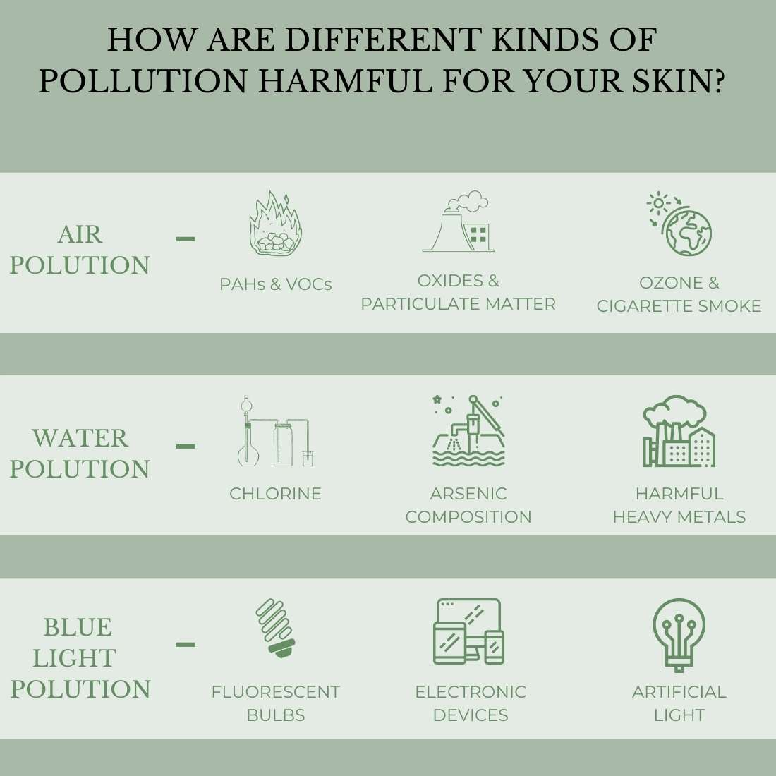 This is an image showing how different kind of pollution affects the skin and leads to skin ageing.