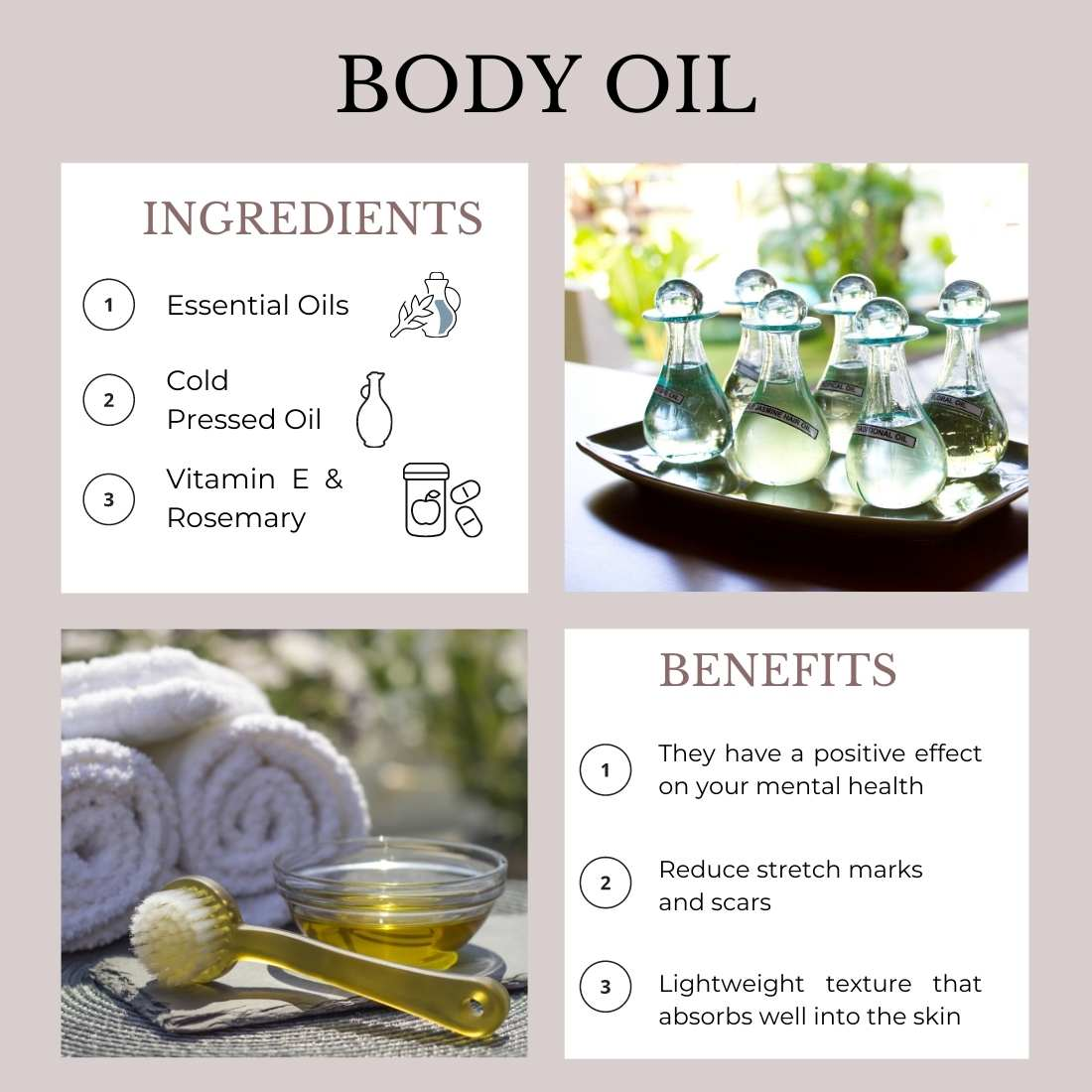 This is an image showing ingredients and benefits of Body oils