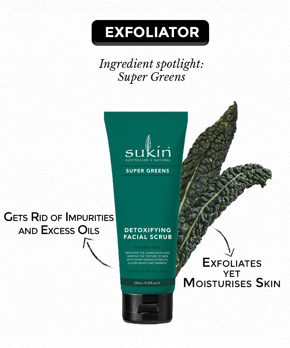 This is supergreens facial srcub for dry skin care routine from the brand Sukin on sublimelife.in